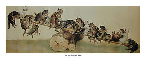 See Saw by Louis Wain - Open edition print - Cats