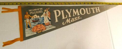 "VINTAGE PLYMOUTH MASS. LAND OF PILGRIMS PENNANT 26.5"" LONG {D123}"