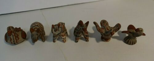 Six Handmade Hand Painted Clay Animal Figures From Mexico Folk Art