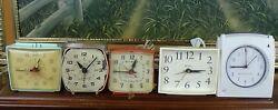 Vintage Alarm Clocks Lot of 5 General Electric Westclox Ingraham