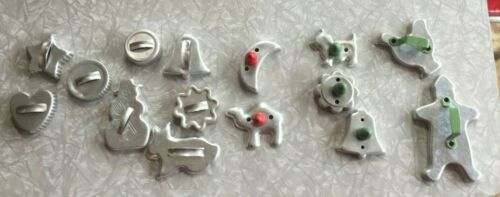 Vintage Cookie Cutters Shapes & Animals With Wood & Metal Handles