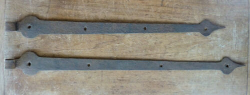 Antique PA Moravian TULIP BUD 18th-19th C Hand WROUGHT Forged IRON STRAP HINGES