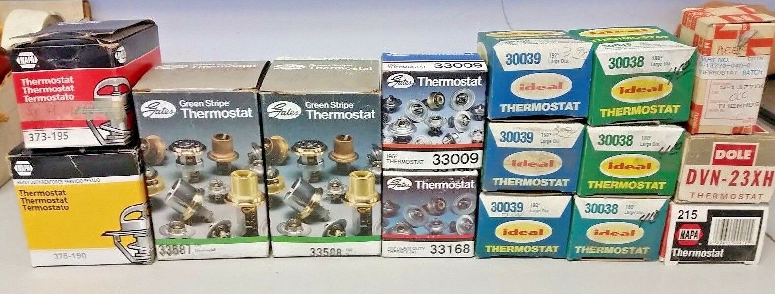 Lot of 16 Mixed Variety Thermostat , Gates , Napa , Ideal , Dole , Isuzu .