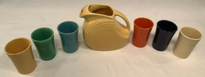 Vintage Fiesta Juice Set Yellow Disc Pitcher Six Juice Tumblers Fiestaware 6