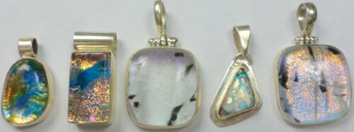 5 Vintage 925 Sterling Silver Multi-Colored Dichroic Glass Pendants 49 Grams