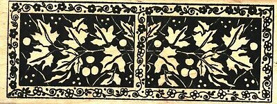 Magenta ~ FLORAL LEAF BORDER ~ Wood Mounted Rubber Stamps Nature Flowers Holly
