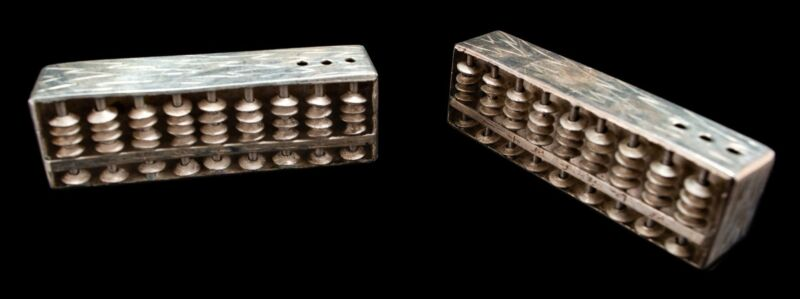 RARE Japanese Sterling Silver Abacus Set Salt & Pepper Shakers