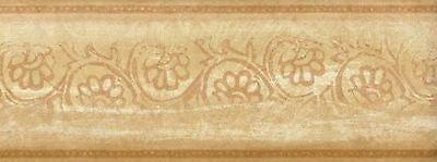 Wallpaper Border Gold & Cream Leaf Scroll On Faux