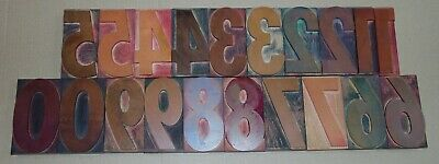 Vintage Wood Letterpress Print Type Blocks Numbers 0-9 5 Tall