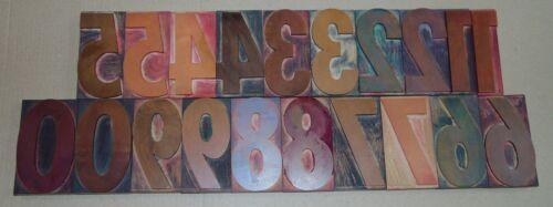 """Vintage Wood LETTERPRESS Print Type Blocks Numbers 0-9 5"""" Tall"""