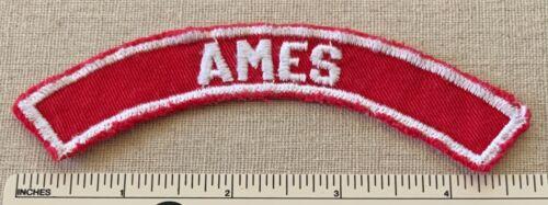 Vintage AMES Boy Scout Red & White Community Town Strip PATCH BSA RWS Badge