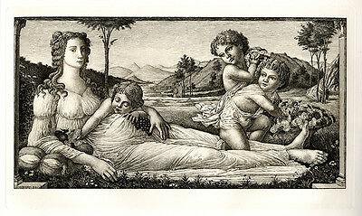 "Extraordinary BOTTICELLI 1800s Etching ""Venus in the Garden"" SIGNED Framed COA"
