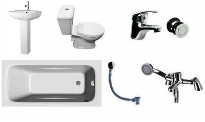 Bathroom Suite 1600mm Bath Pedestal & Basin Close Coupled Toilet Taps Wastes