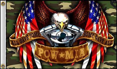 AMERICAN CAMOUFLAGE POWMIA EAGLE  3 X 5 MOTORCYCLE ENGINE BIKER FLAG #404 NEW