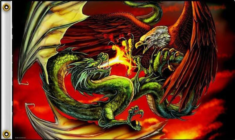 DRAGON WITH EAGLE FIGHT W FLAMES 3 X 5 MOTORCYCLE DELUXE BIKER FLAG #383 NEW
