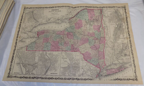 1862 Antique COLOR Johnson & Ward Map of NEW YORK