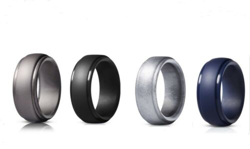 4 Pack Silicone Wedding Engagement Ring Men Women Rubber Band Gym Sports Us
