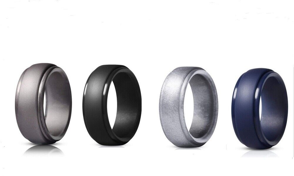 4 Pack Silicone Wedding Engagement Ring Men Women Rubber Band Gym Sports US Bands without Stones