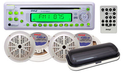 PYLE PLCD6MRKT Marine/Boat Stereo Radio CD Player Receiver+4 Speakers Package on Rummage