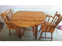 Solid pine drop leaf table