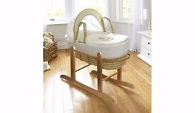 Little Rocker Moses Basket In Cream with Stand