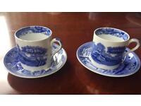 Pair Of Miniature Copeland Spode Blue Italian porcelain Espresso Cups &saucers