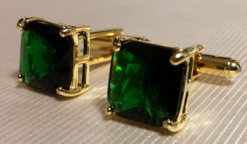 4.5ct EMERALD GREEN Colombian STONE CUFFLINKS in 18K Yellow Gold Over For Men