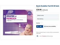 Boots Ovulation Test Kit 20 tests.