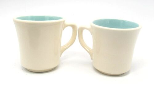 Taylor Mugs Vintage Diner Coffee Cups Set of 2 Cream with Blue/Green Inside