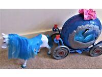 Disney Princess Cinderella Transforming Pumpkin Coach Carriage, horse & doll