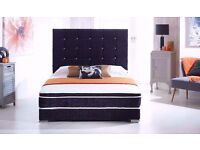 """""""NEW"""" CRUSHED VELVET FABRIC SINGLE DOUBLE BED WITH 1000 POCKET ORTHOPEDIC SPRUNG MATTRESS £199"""