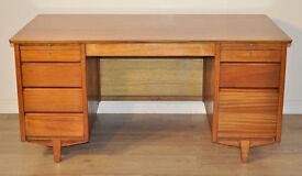 Very Large Wide Vintage Retro Teak Twin Pedestal Office Writing Desk Drawers
