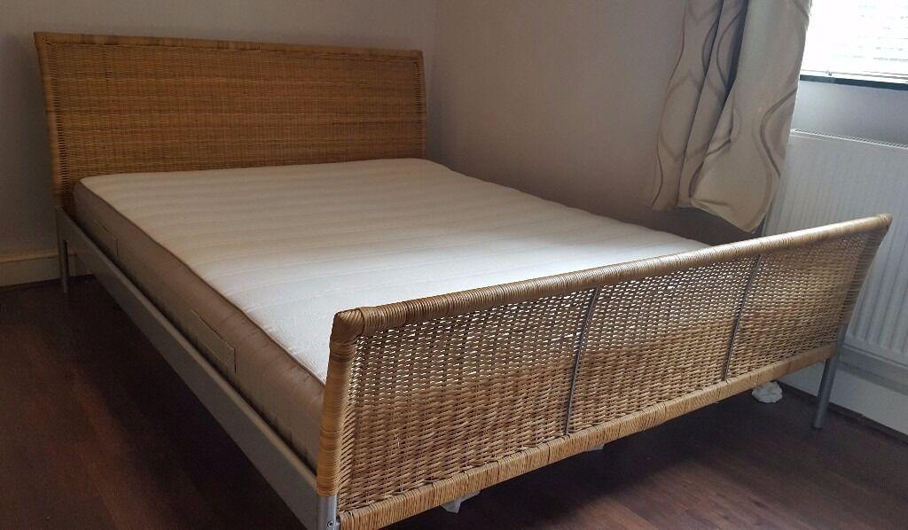 ikea wicker european king size bed frame and ikea hamarvik mattress
