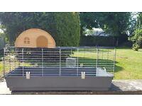 Indoor guinea pig/rabbit run, with wooden house & hay feeder