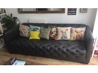 DFS large leather BOSS sofa in charcoal