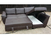 Fernando Leather Right Hand Corner Sofa Bed - Brown