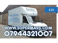 Man And Luton Van Home Removals Mover With a House Waste Disposal Moving Box Rubbish Clearance Hire