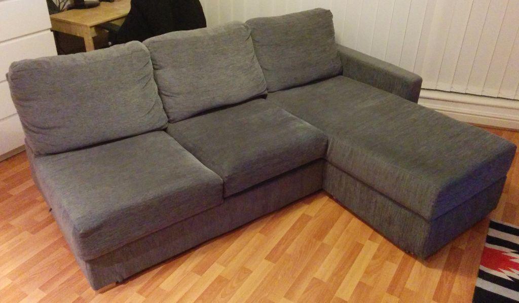 Nabru 3 Seat Chaise Sofa Grey Blue Flat Pack Storage