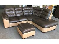 DFS Brown Thick Leather Corner Sofa With Storage Footstool.WE DELIVER