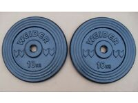 2 x 10kg weider cast iron weight plates crossfit bodybuilding