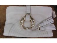 Jimmy Choo Bag Handbag Clutch Bag Purse White Leather and Suede Interior