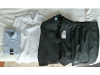 M&S grey suit (jacket 40in/Medium) (trousers 36w/29l) + 2 shirts (1 new/1 used)