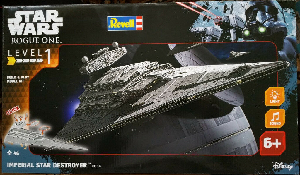 Star Wars Rogue One - Revell Imperial Star Destroyer Lights & Sounds snap together Model Kit.