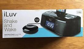 iLuv shake and wake dual alarm clock for iPod/iPhone