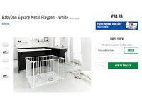 BabyDan Square Metal Playpen - White