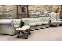 CREAM LEATHER Chesterfield Suite Sofa Chair footstool