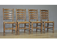 Set Of 4 Titchmarsh & Goodwin Oak Ladderback Rush Seat Dining Kitchen Chairs