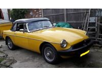 MGB Roadster 1978 incar yellow, fabulous, totaly re built over last 2 yrs