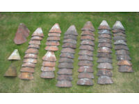 20 Kent Peg & other 50 very old Clay roof tiles - Bonnet / Hips * OPEN TO SENSIBLE OFFERS PLEASE *