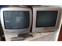 Two 14 Inch Portable TV's with Remote Controls in Good Working Order